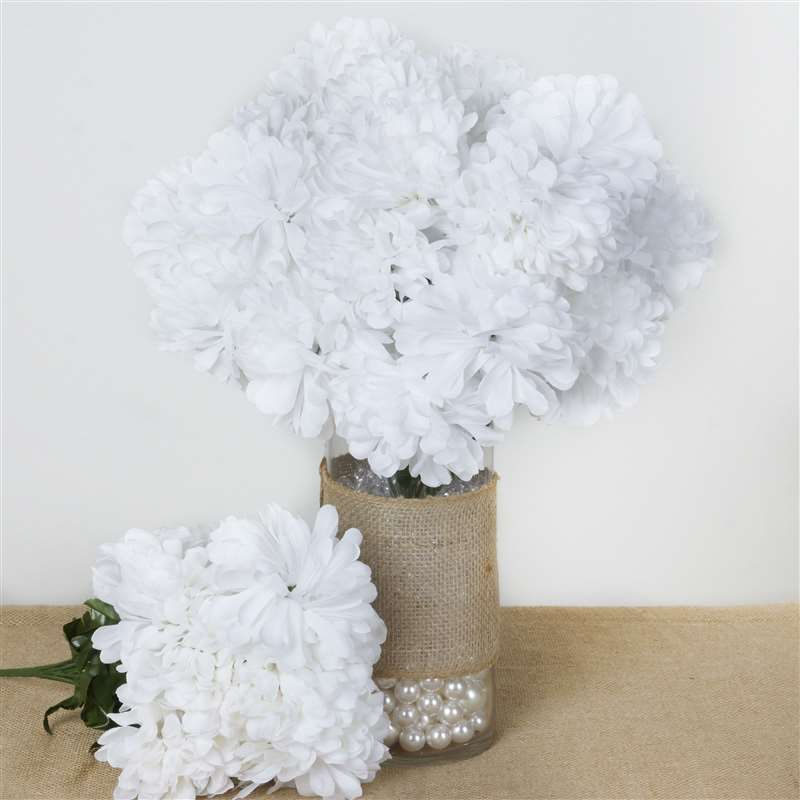 56 artificial white silk chrysanthemum flowers bush wedding bridal 56 chrysanthemum mum balls white silk flowers factory mightylinksfo