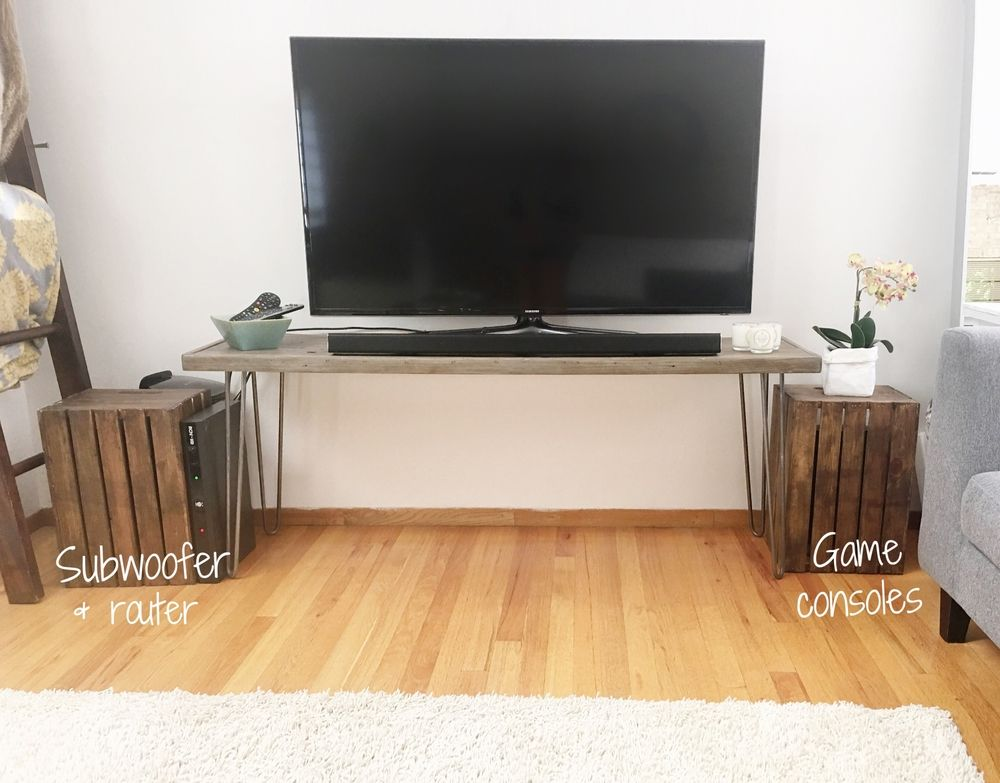 Diy Day 1 Crates That Hide Cords Subwoofers And Game Consoles Tv Cords Hide Cords Hide Tv Cords