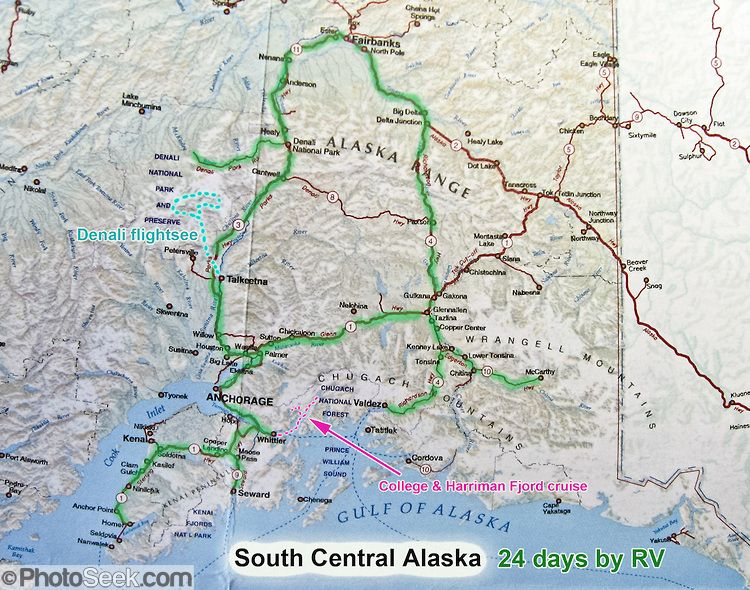 South Central Alaska map, USA, 24 days by RV (Recreational Vehicle ...