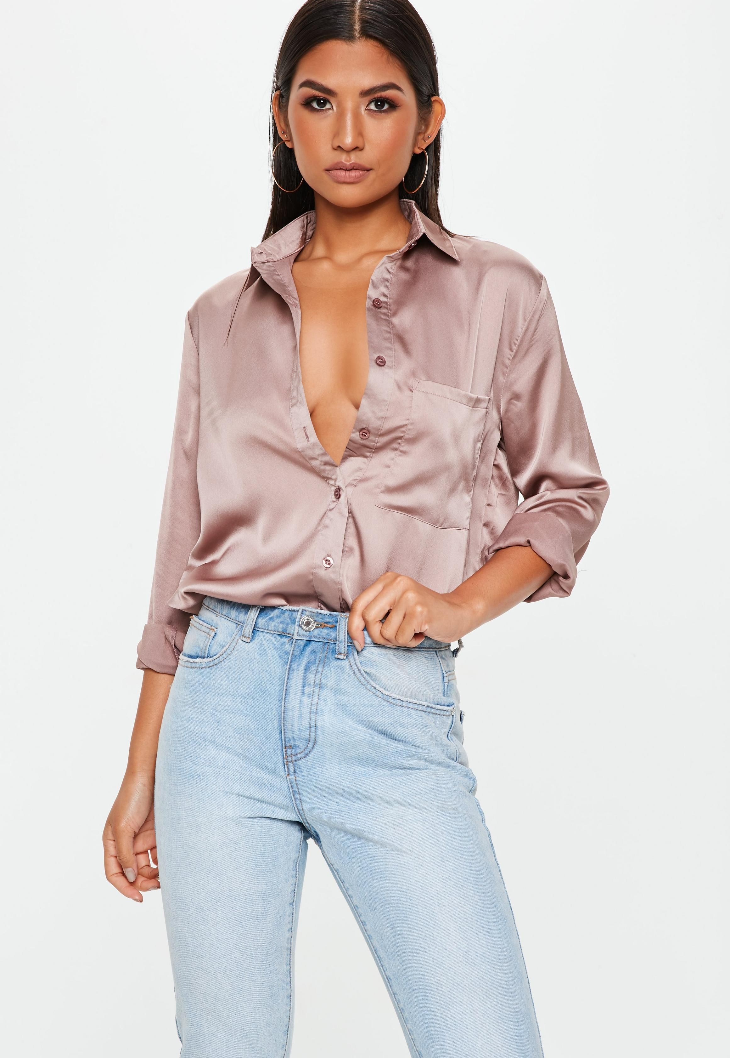 e1a34a2824 Pink Oversized Satin Shirt | Missguided | Recettes in 2019 | Satin ...