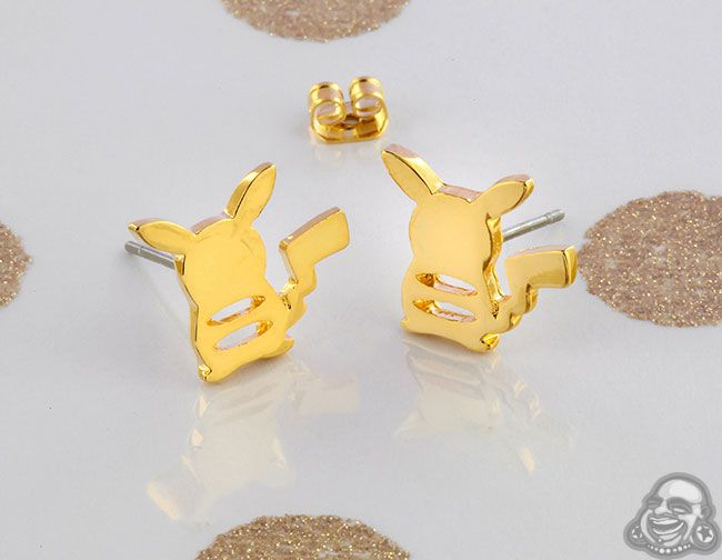 Gold Plated Pikachu Earrings
