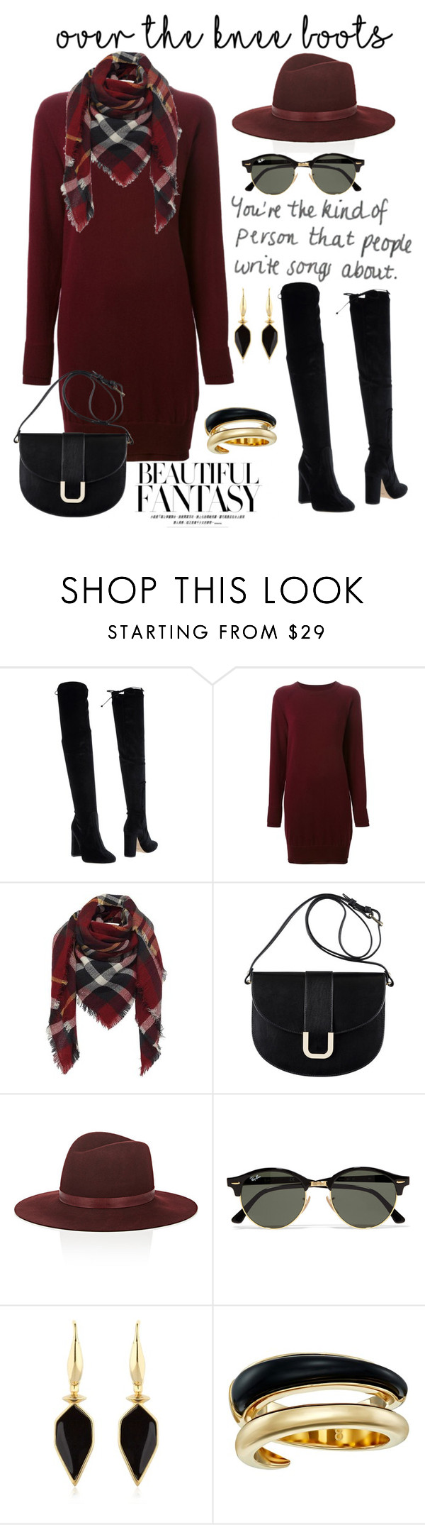 """""""Over the Knee Boots"""" by shelley-harcar ❤ liked on Polyvore featuring Bianca Di, Maison Margiela, A.P.C., Janessa Leone, Ray-Ban, Isabel Marant, Michael Kors and OverTheKneeBoots"""
