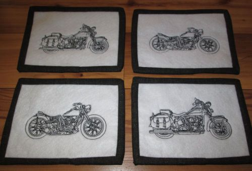 Set Of 4 Black Harley Motorcycle Embroidery Quilted Mug