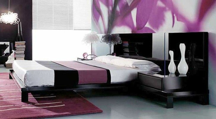 Modern Day Japanese Fashion Purple Bedroom Set Images 01 -