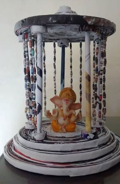 Ganpati Decoration Ideas | Decoration, Craft and Newspaper ...