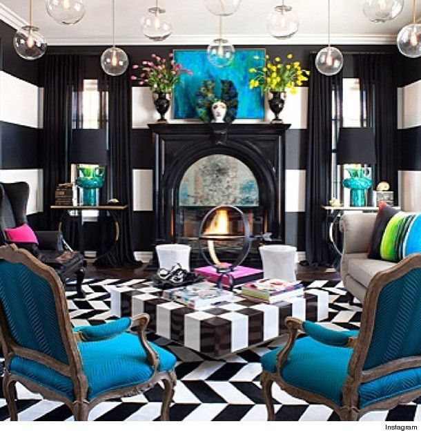 Inside Kourtney Kardashian's House - An entire black room with bold pop of  blue! Totally makes a stunning room. May not be everyone's taste but it is  very ...