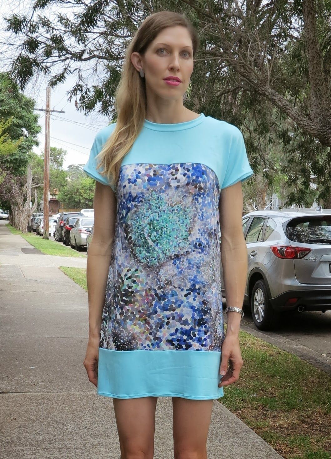 Lily Sage & Co: The family uniform blue digital print visose shift dress