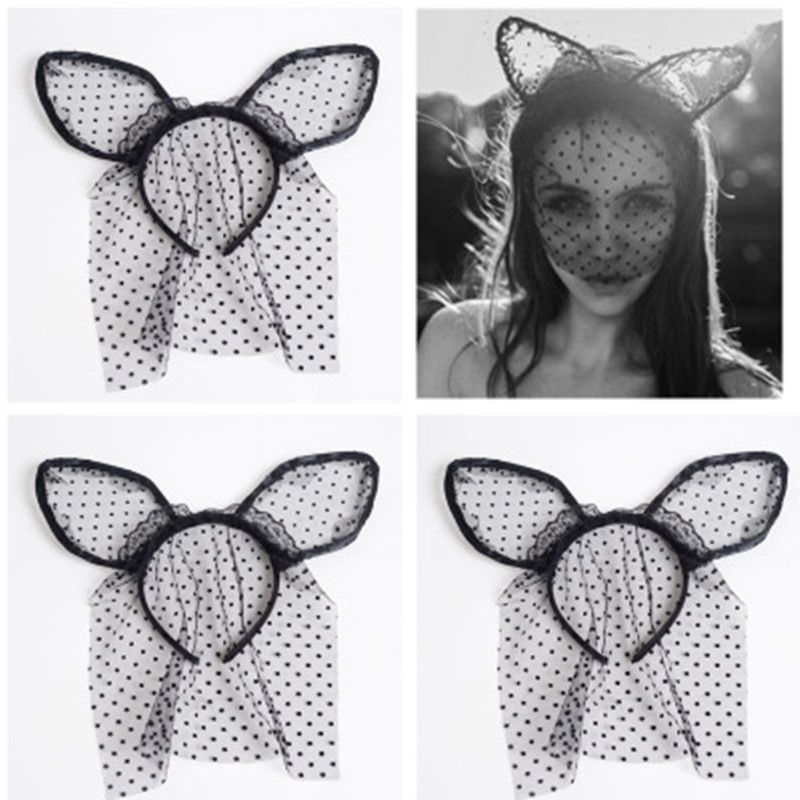 7519f9e950d Easter Women Girl Hairbands Lace Rabbit Bunny Ears Veil Black Eye Mask  Halloween Party Headwear Hair Accessories