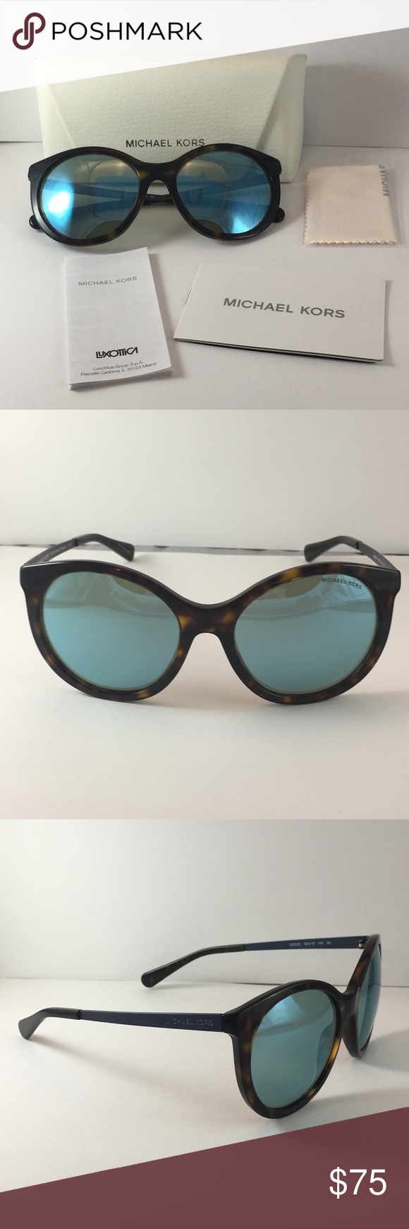 f808f2599d Michael Kors Island Tropics Sunglasses New MK2034. Dark Tortoise Teal Mirror.  Classic round