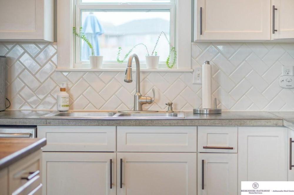 herringbone white subway tile kitchen backsplash  kitchen