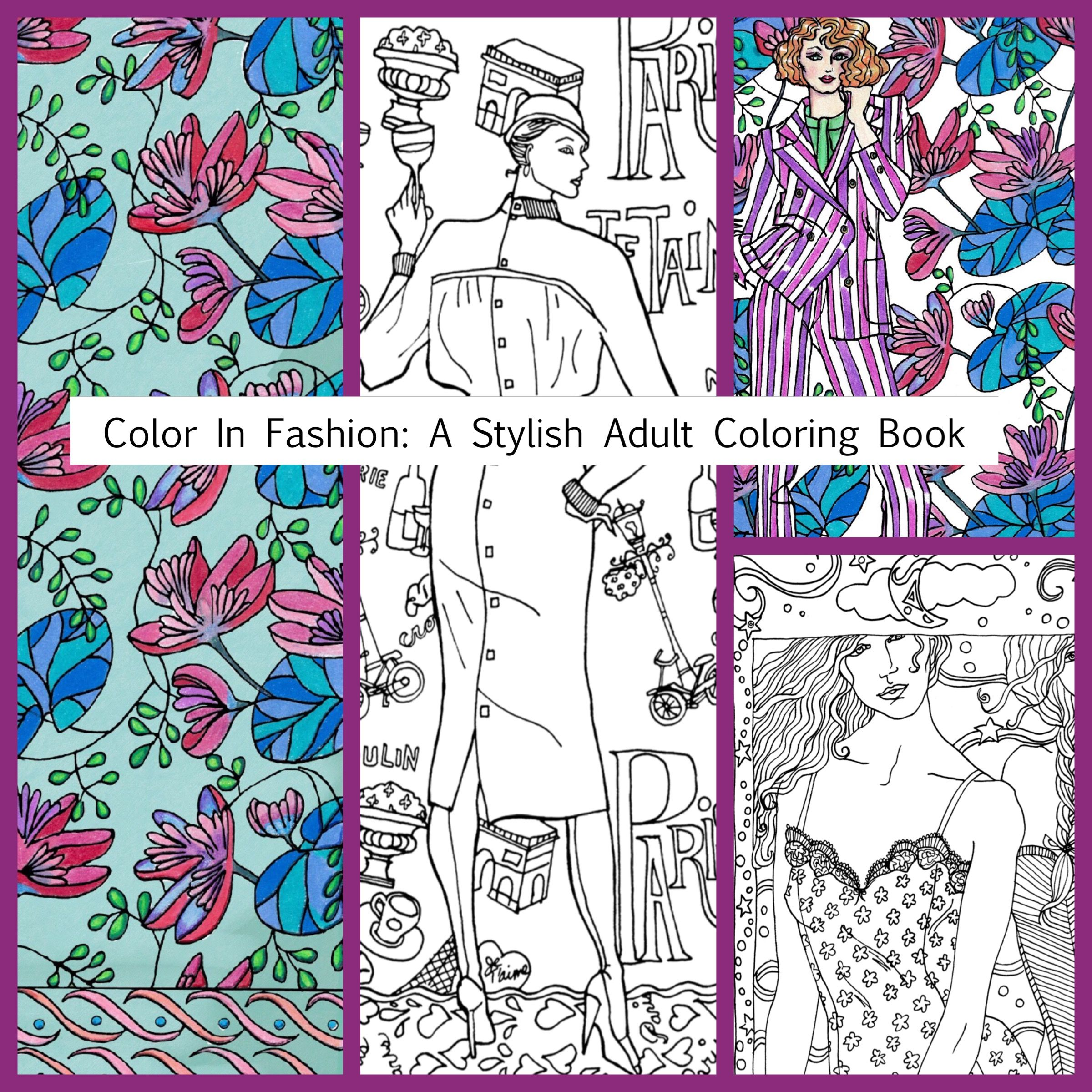 A collage from my new adult coloring book. Trying out Pickframe and liking it!