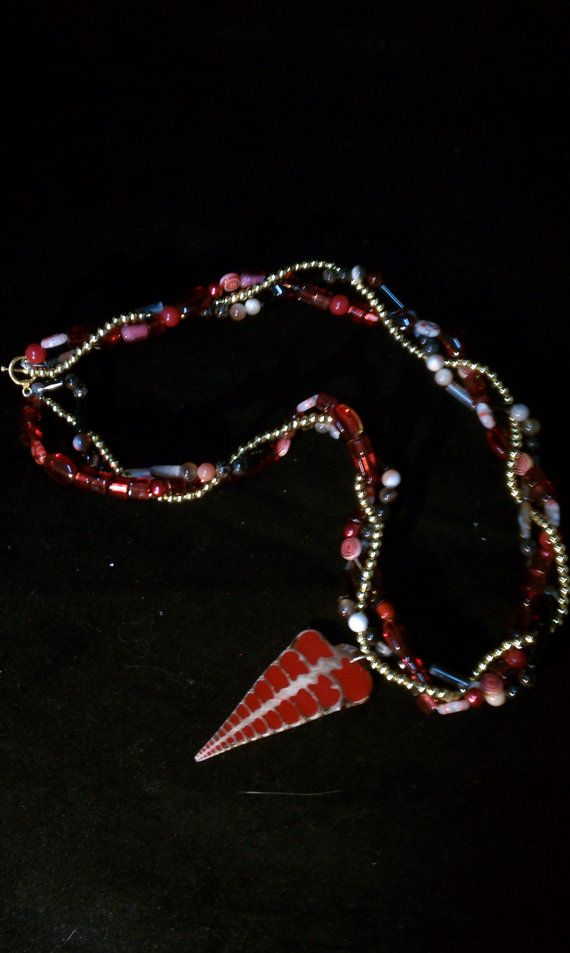 Amazing red tone and gold necklace by CavyCareInc on Etsy, $20.00