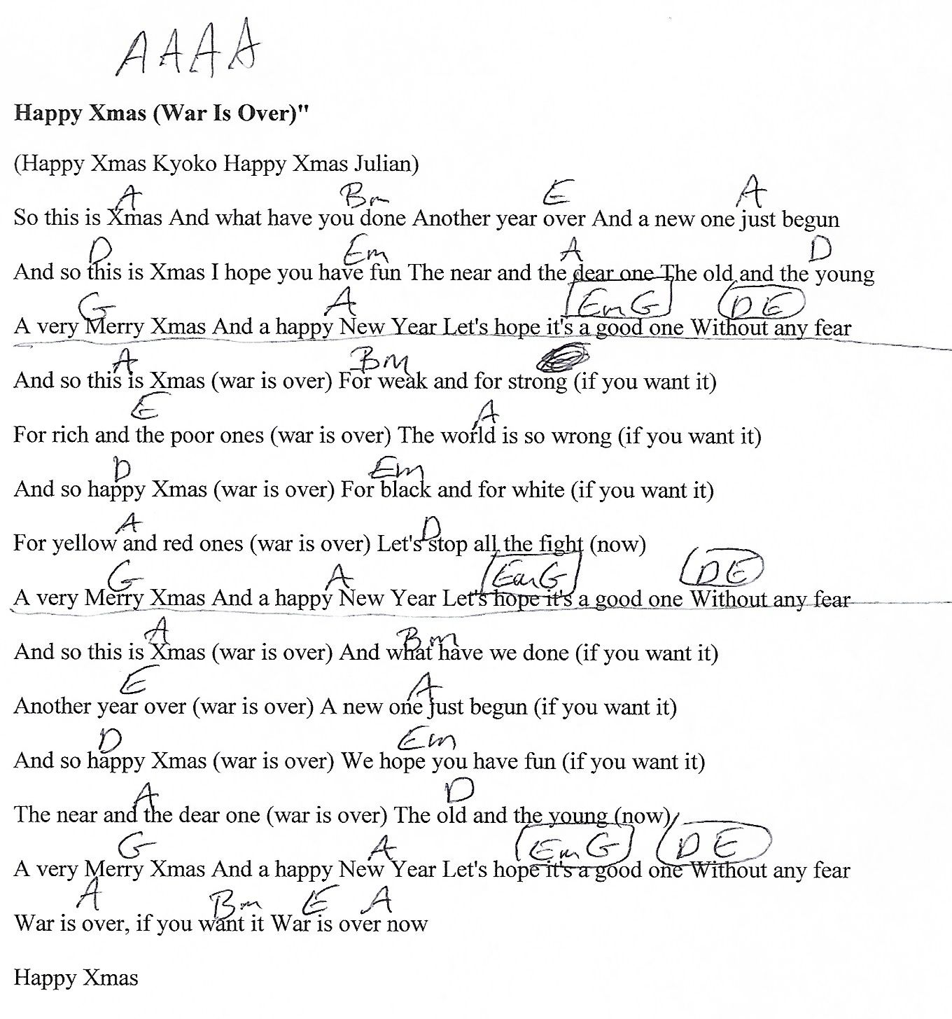 Happy X Mas John Lennon A Major Guitar Chord Chart Httpwww