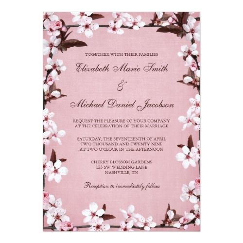 pink cherry blossoms border wedding invitation in 2018 pink