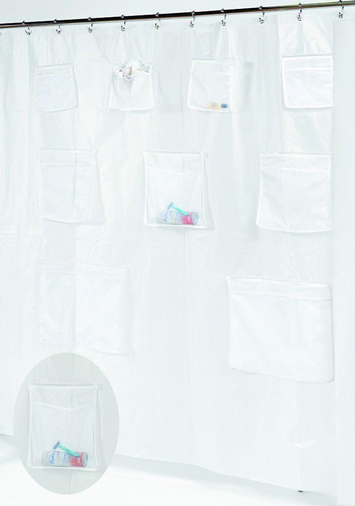 Pockets Peva Shower Curtain With 9 Mesh Storage Pockets Frosty
