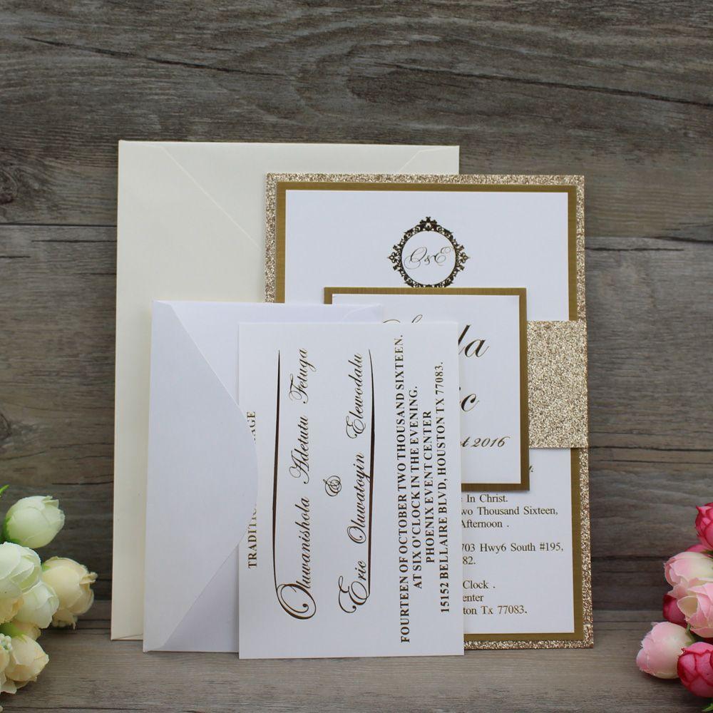 Personalized Die Cut Fancy Gold Glitter Wedding