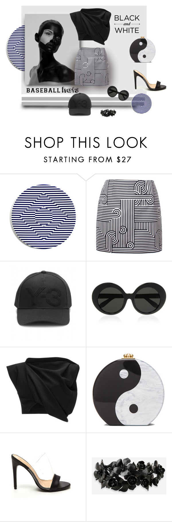 """""""Yin and Yang"""" by michelletheaflack ❤ liked on Polyvore featuring Victoria, Victoria Beckham, Y-3, Linda Farrow, E L L E R Y, Edie Parker, Valentino, baseballcap, polyvorecontests and baseballhats"""