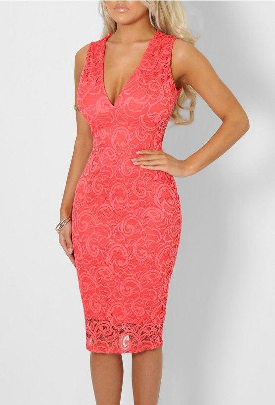 801e60da5d30 Rhianna Coral Lace Plunge Midi Dress - 8 | OUTFIT IDEAS | Dresses ...