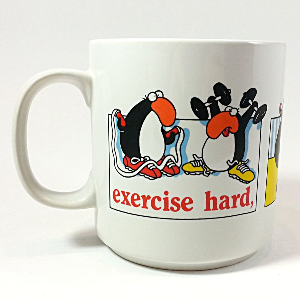 Exercise Hard Eat Fiber Die Anyway Coffee Mug Cup 8oz Vintage 1987 Benton k299
