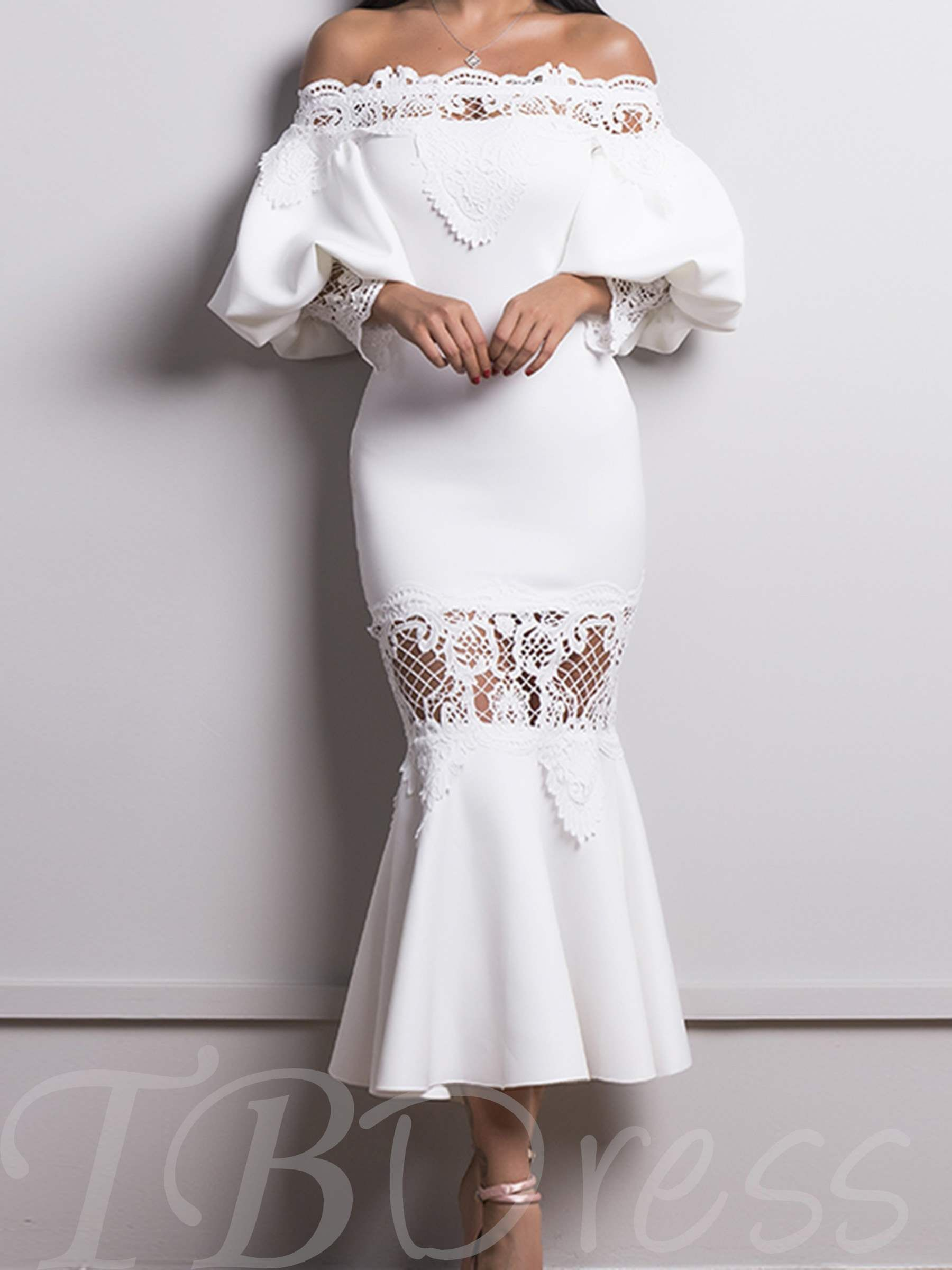 d3d4f4aa2d m.tbdress.com offers high quality White Mermaid Slash Neck Off Shoulder  Lace Dress under the category Maxi Dresses unit price of $ 28.21.