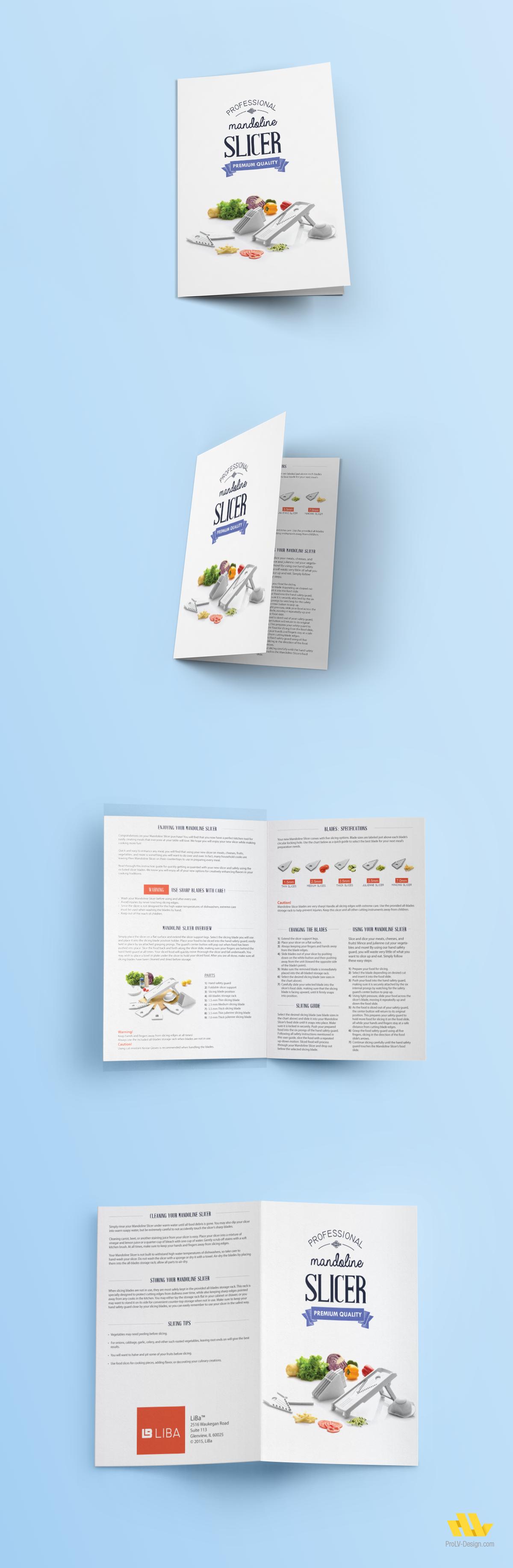 instruction manual design for liba slicer flyer brochure design