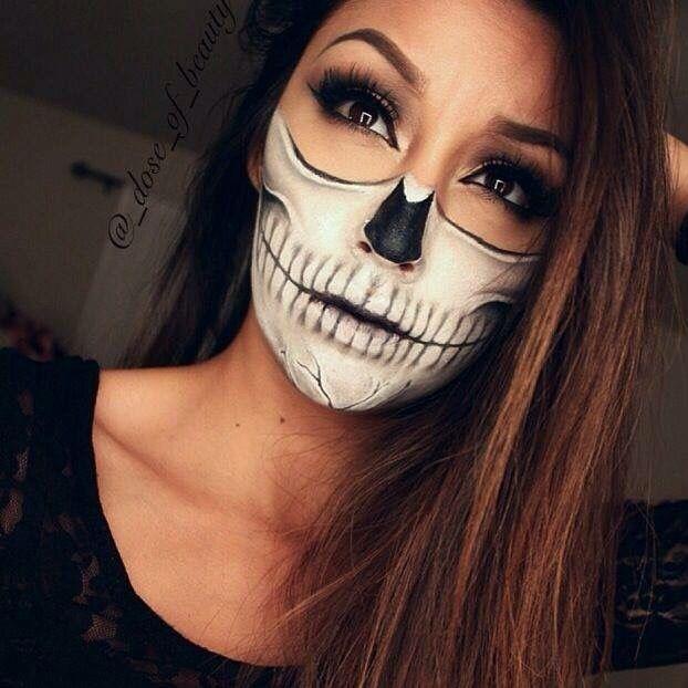 Mitad maquillaje halloween Halloween disfraz Pinterest