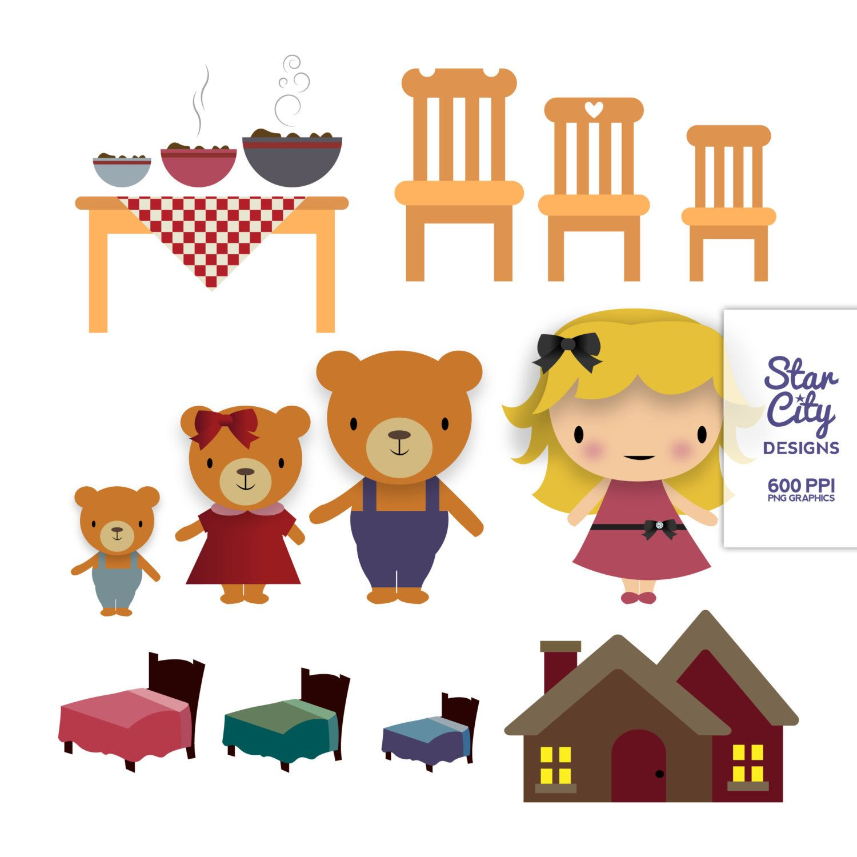 hight resolution of goldilocks and the three bears clipart 1