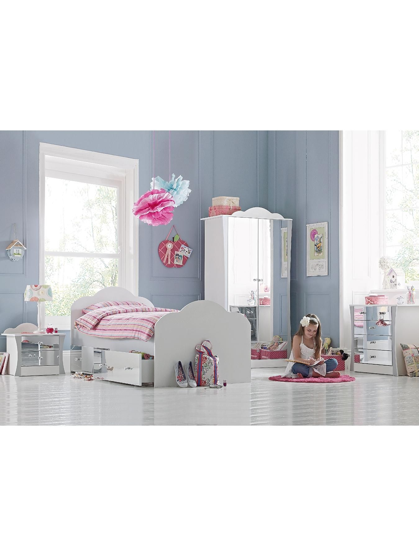 Mirrored Bedroom Furniture Uk Rebecca Kids Single Bed Frame With Optional Mattress Kid