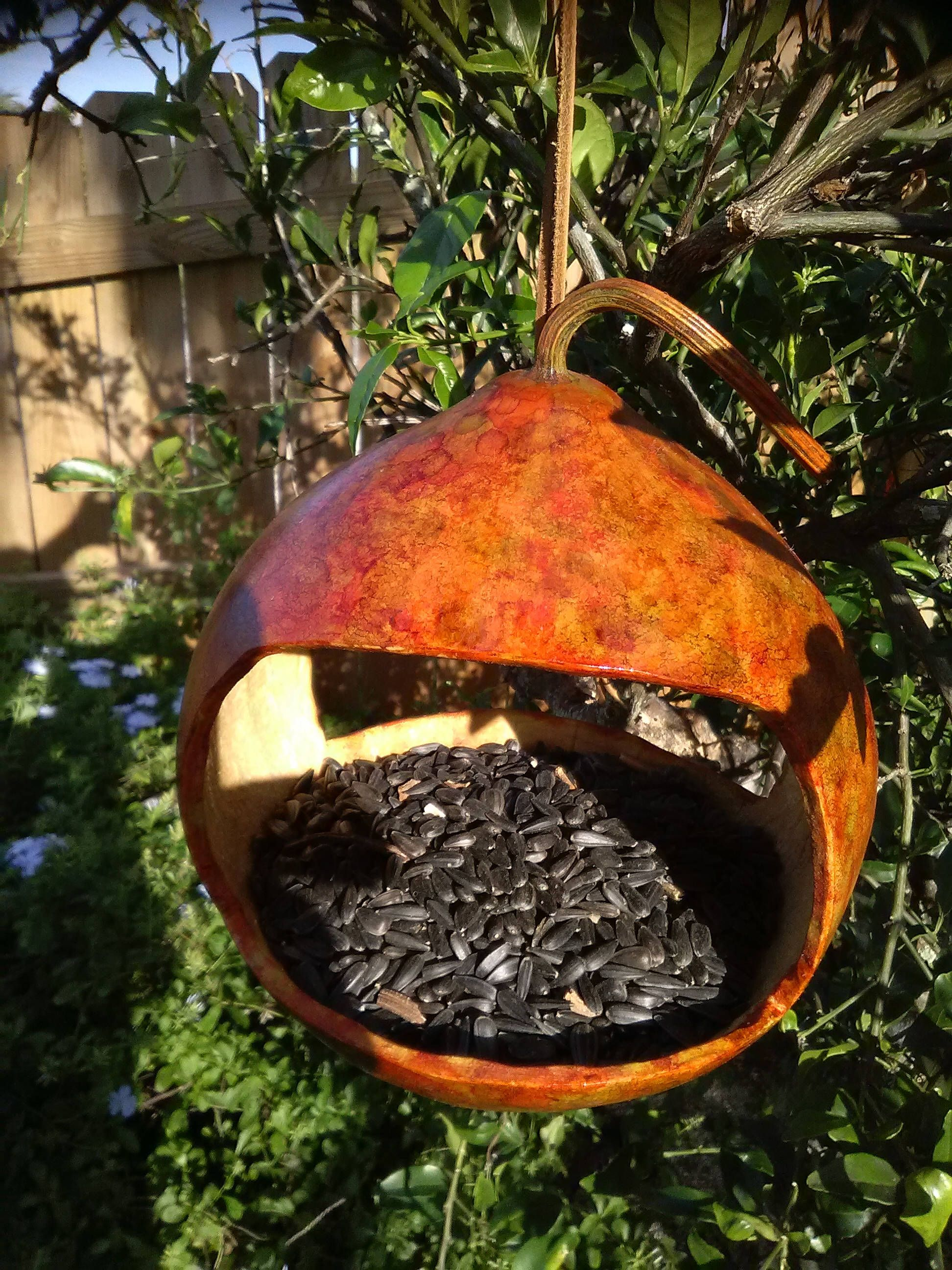Gourd Birdfeeder, Fall Foliage Rustic colors, One of a Kind
