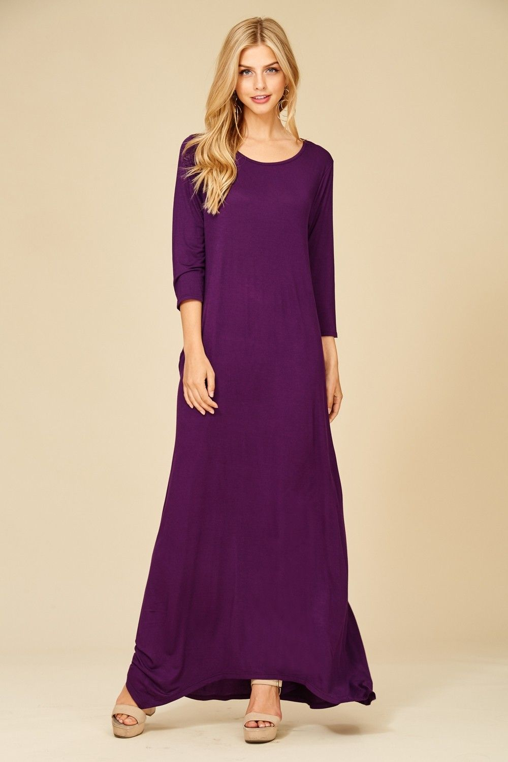 3 4 Sleeve Maxi Dress Style D5212 Knit Dress Featuring Solid 3 4 Sleeves Round Neck Side Pockets M Maxi Dress With Sleeves Womens Maxi Dresses Maxi Dress [ 1500 x 1000 Pixel ]