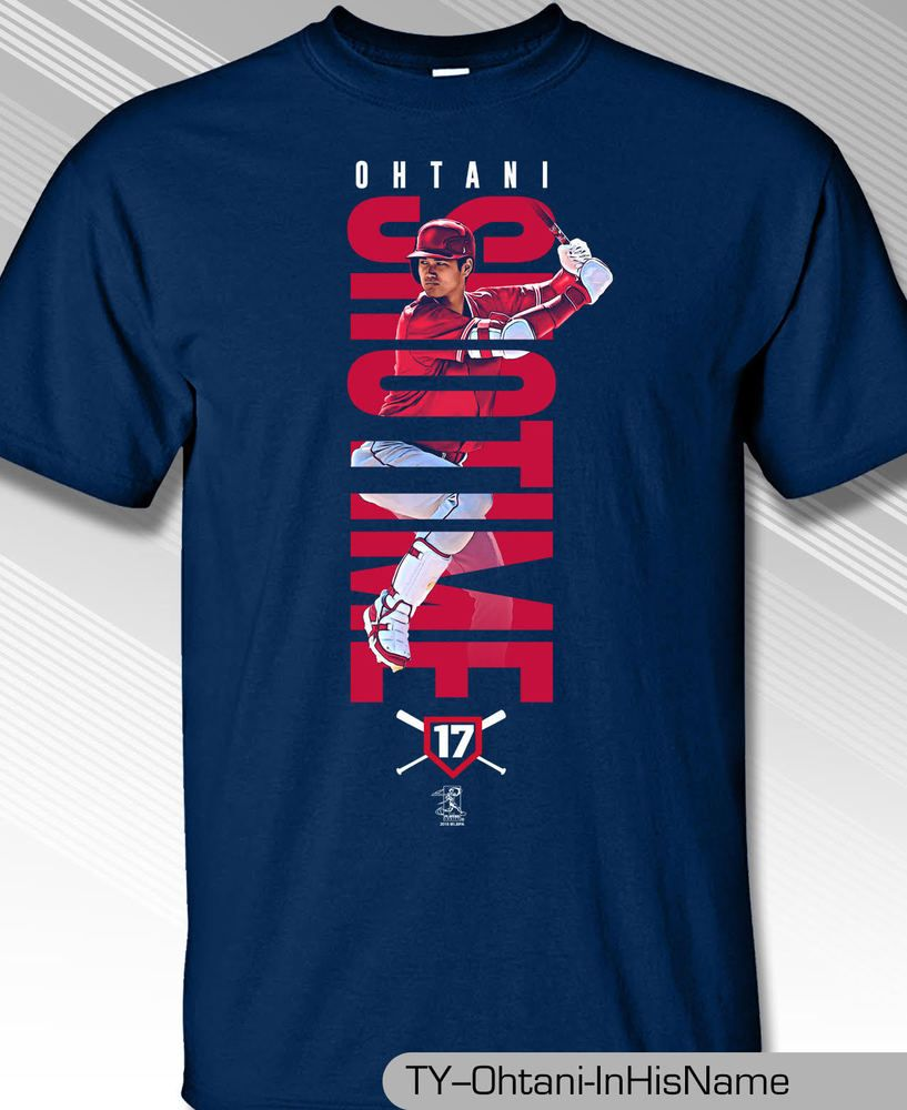 Los Angeles Angels MLBPA SHOHEI OHTANI  17 In His Name Men s Cotton T Shirt  Navy  MLBPA 89c8959d3