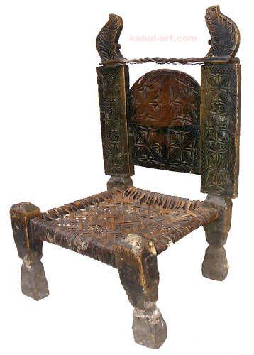 Details zu antik orient holz und leder stuhl chair for Holz leder stuhl