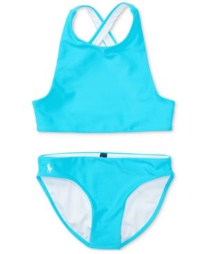 31545835db Ralph Lauren 2-Pc. Cross-Back Swimsuit, Big Girls (7-16) - Blaze ...