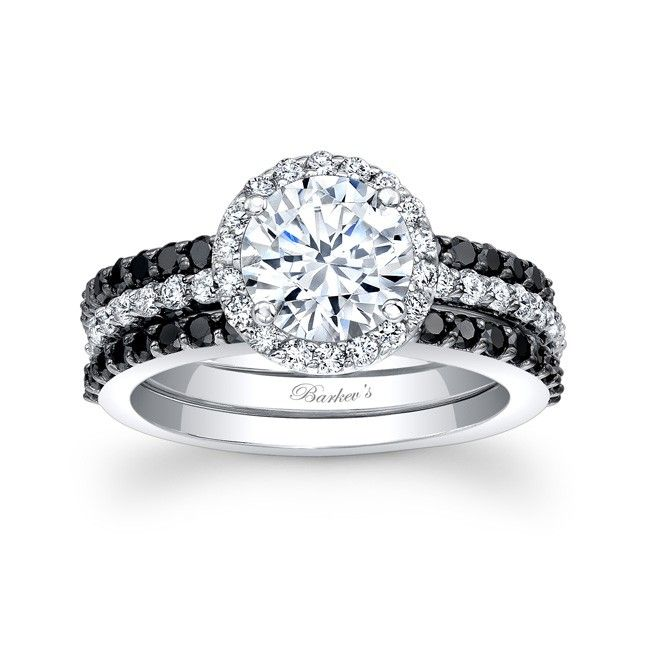black diamond bridal set 7895sbk - Black Diamond Wedding Ring Set