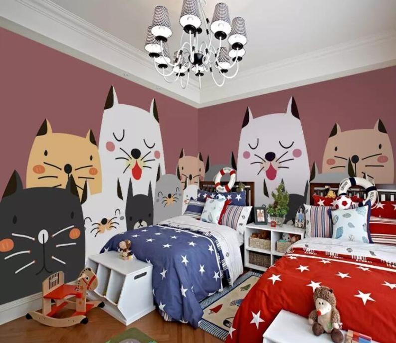 3D Kids, Cartoon, Cute, Cat WallpaperNursery Wallpaper