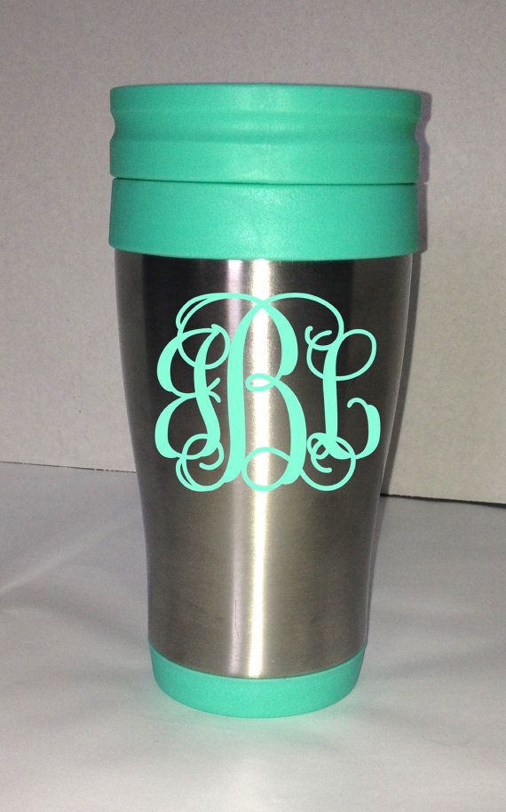 This Listing Is For One Custom Travel Mug With A Personalized Vinyl Monogram Travel Mug Is Stainless Steel With Mint Colored Lid And