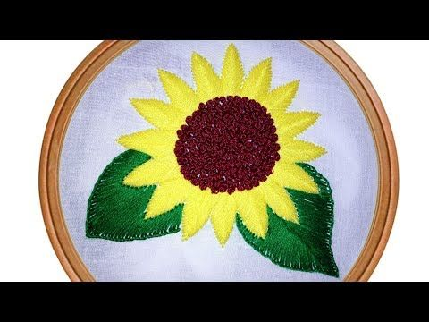 Sunflower Pattern With Fishbone Stitch And French Knot