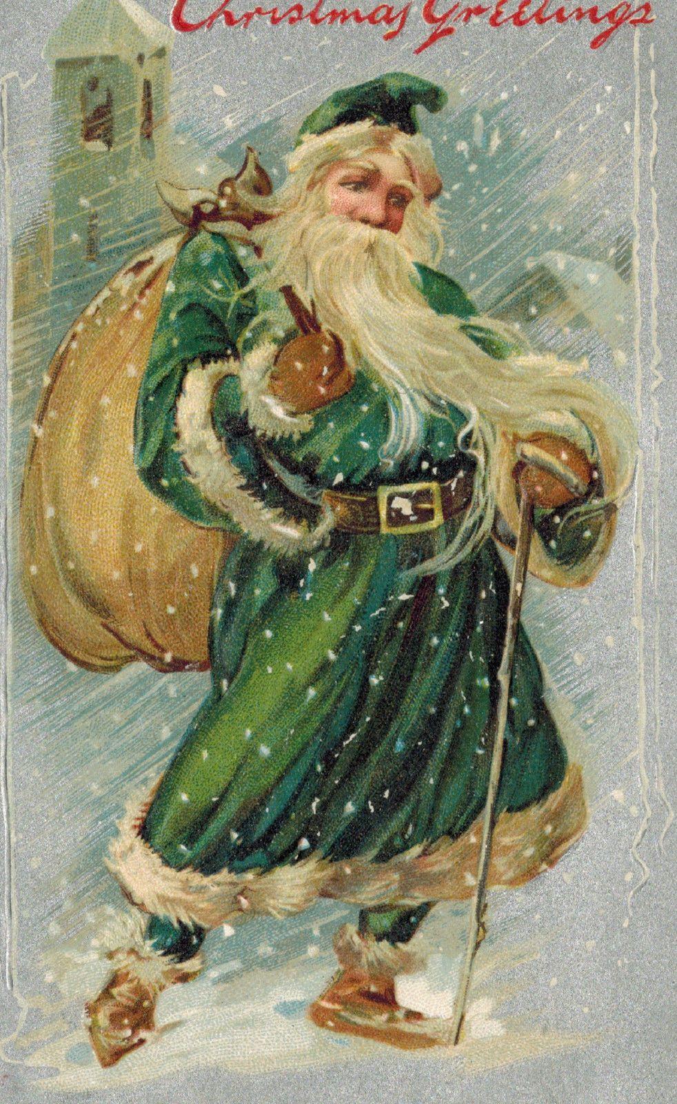 8bb4b8cc62 Vintage Christmas Postcard Santa Claus St. Nick Green Robe Tucks EMB DB  c1910
