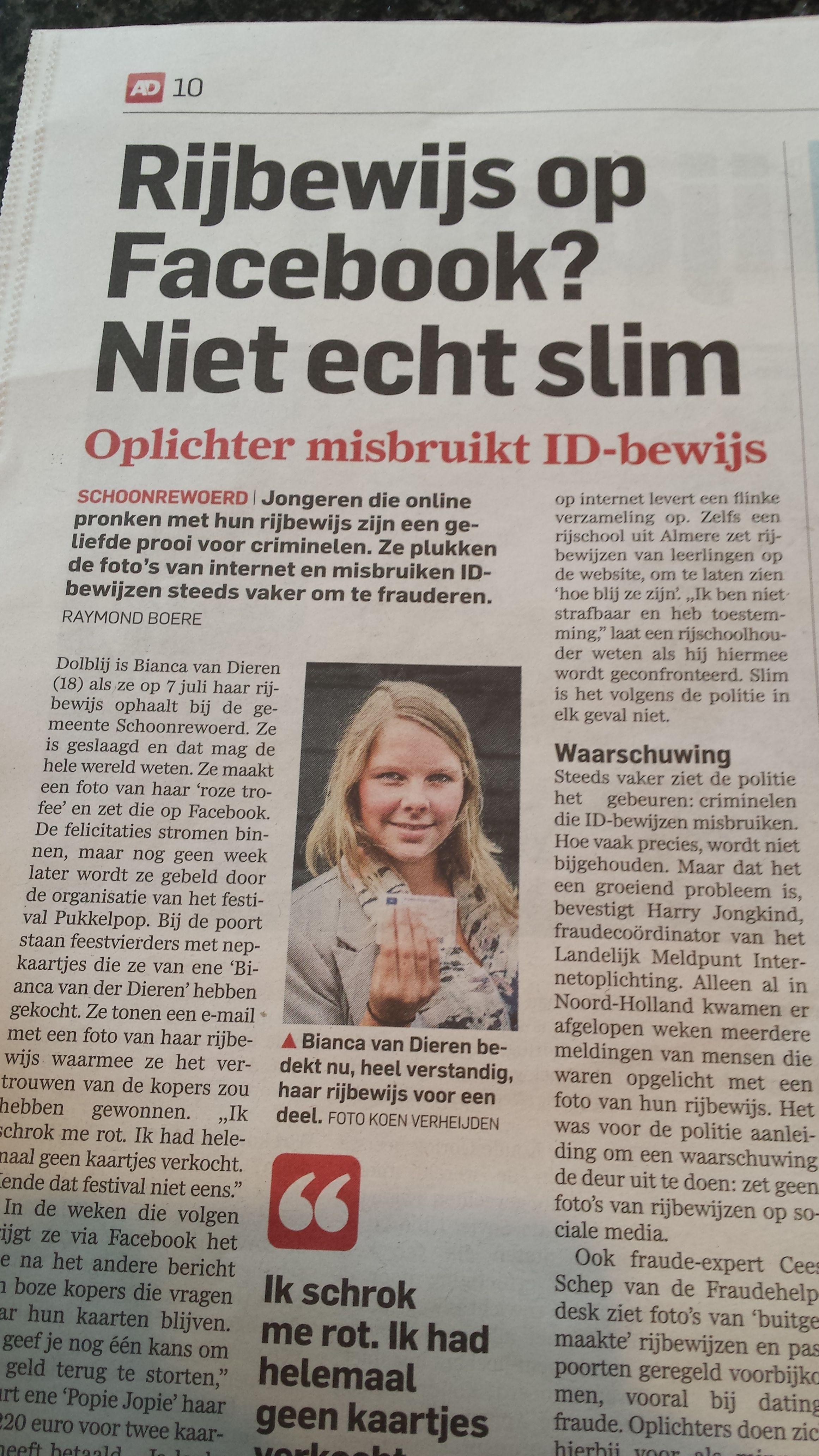 Photo of Dein Führerschein auf Facebook. Nicht wirklich schlau. Algemeen Dagblad 1. September 2014