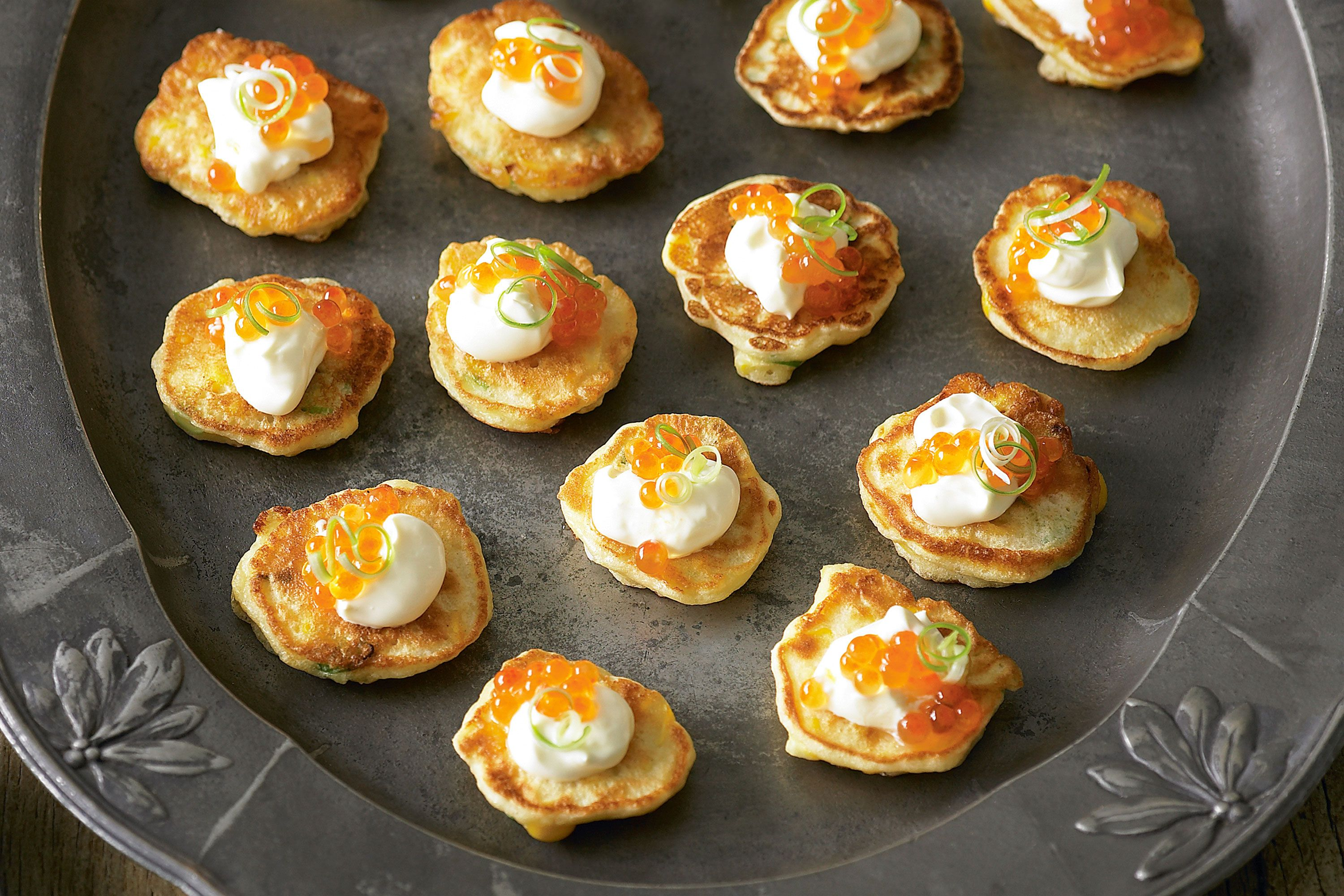Corn Fritters With Salmon Roe