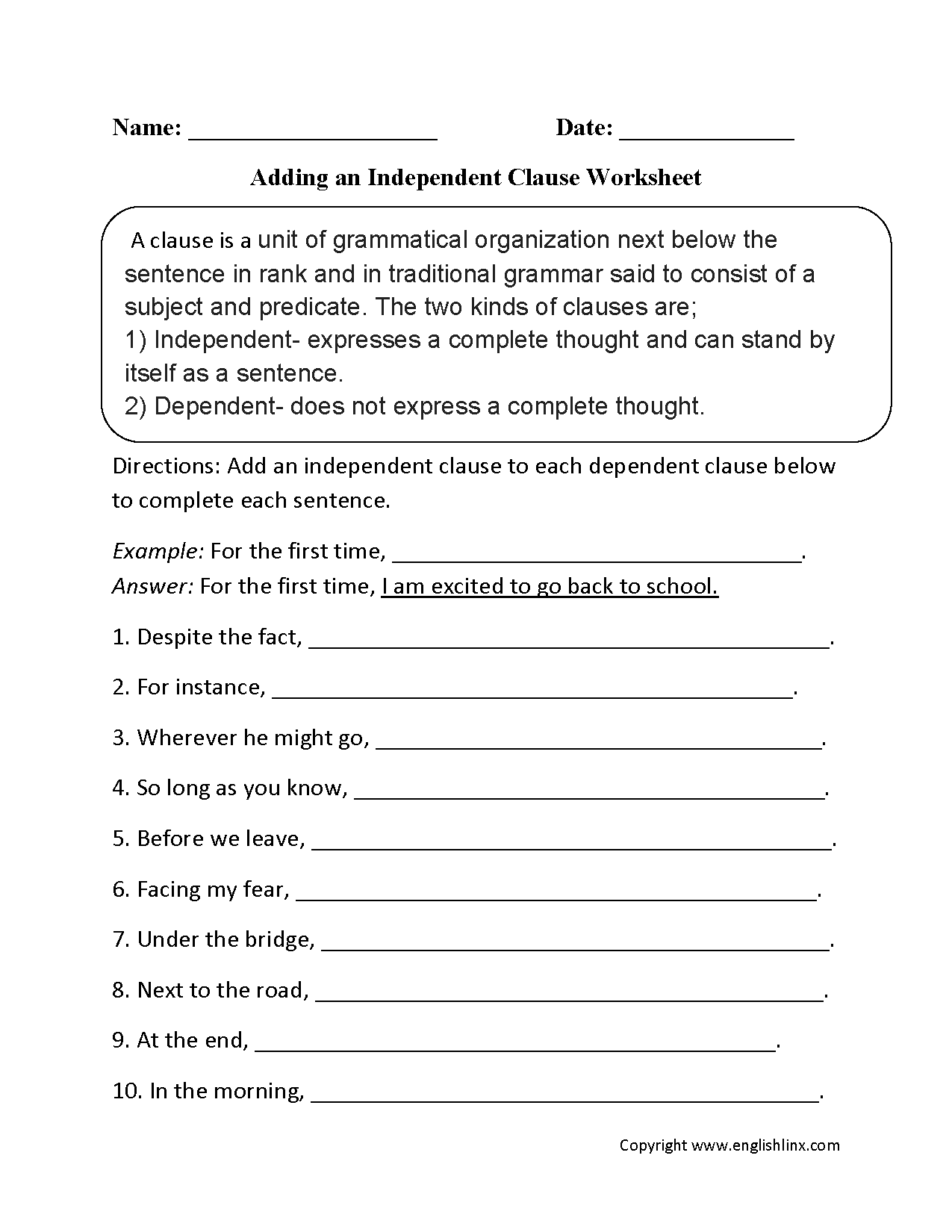 Adding an Independent Clause Worksheet  Englishlinx.com Board  Pinterest  Worksheets and Adverbs