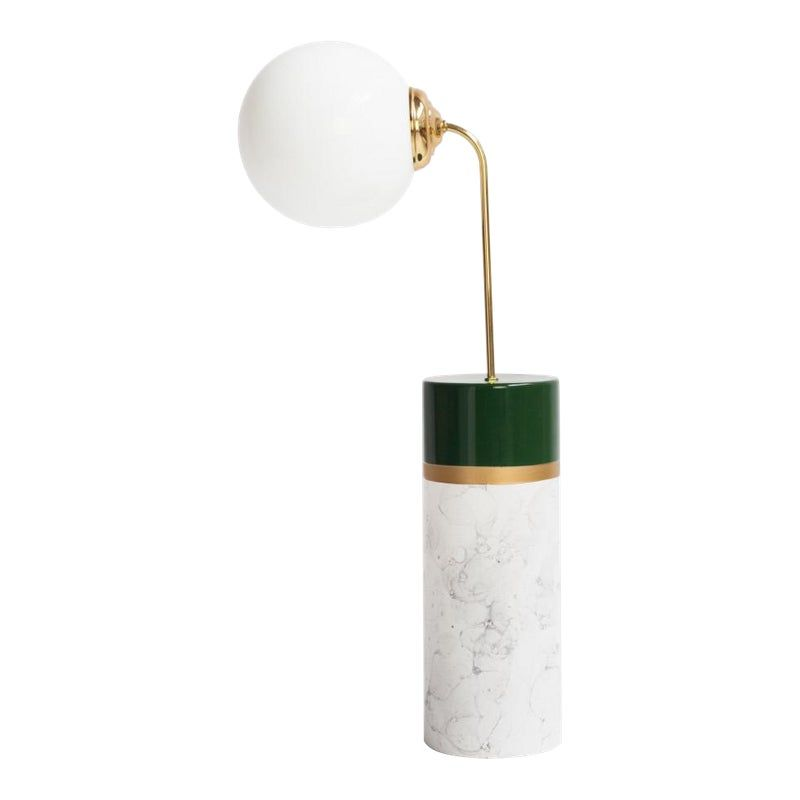 New Round Avalon White Marble Floor Lamp by Houtique & Masquespacio #whitemarbleflooring