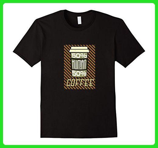 Mens 50% Human 50% Coffee T-Shirt 3XL Black - Food and drink shirts (*Amazon Partner-Link)