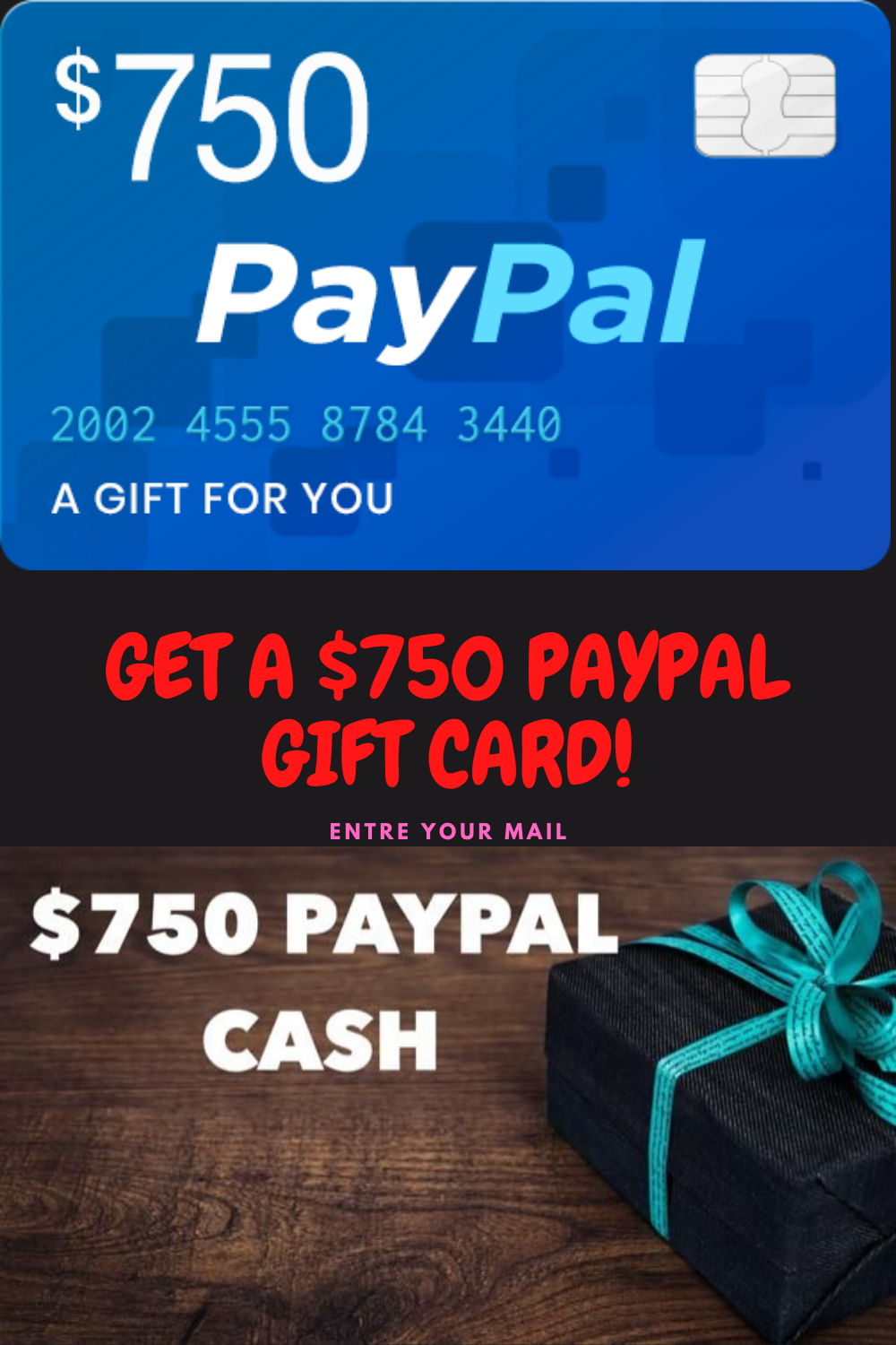 Get A 750 Paypal Gift Card Paypal Gift Card Free Gift Cards Online Gift Card Deals