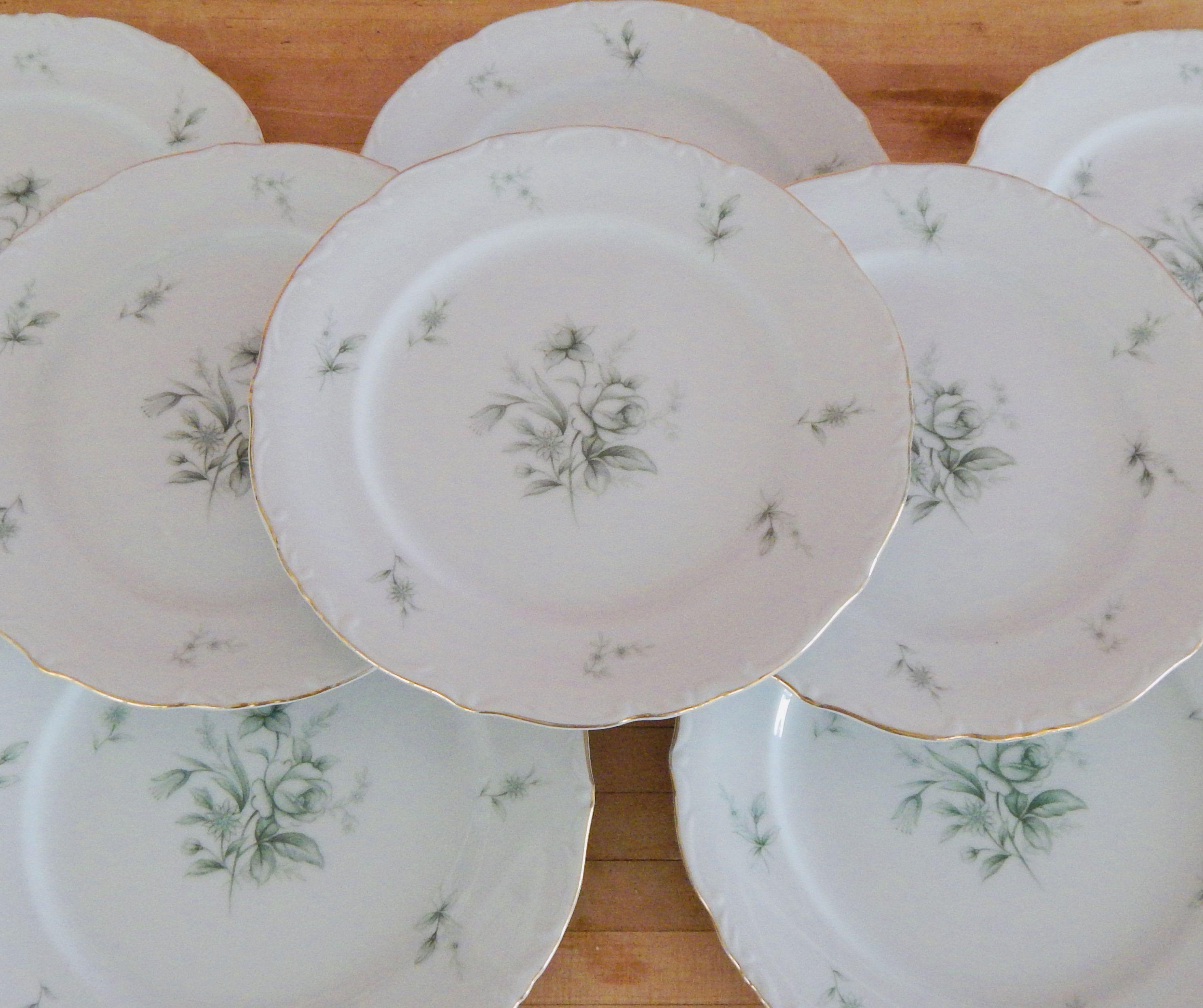Vintage China Dinner Plates Yamato China Bulk Plates Jade Rose