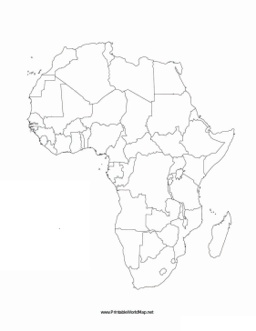 This printable map of the continent of Africa is blank and