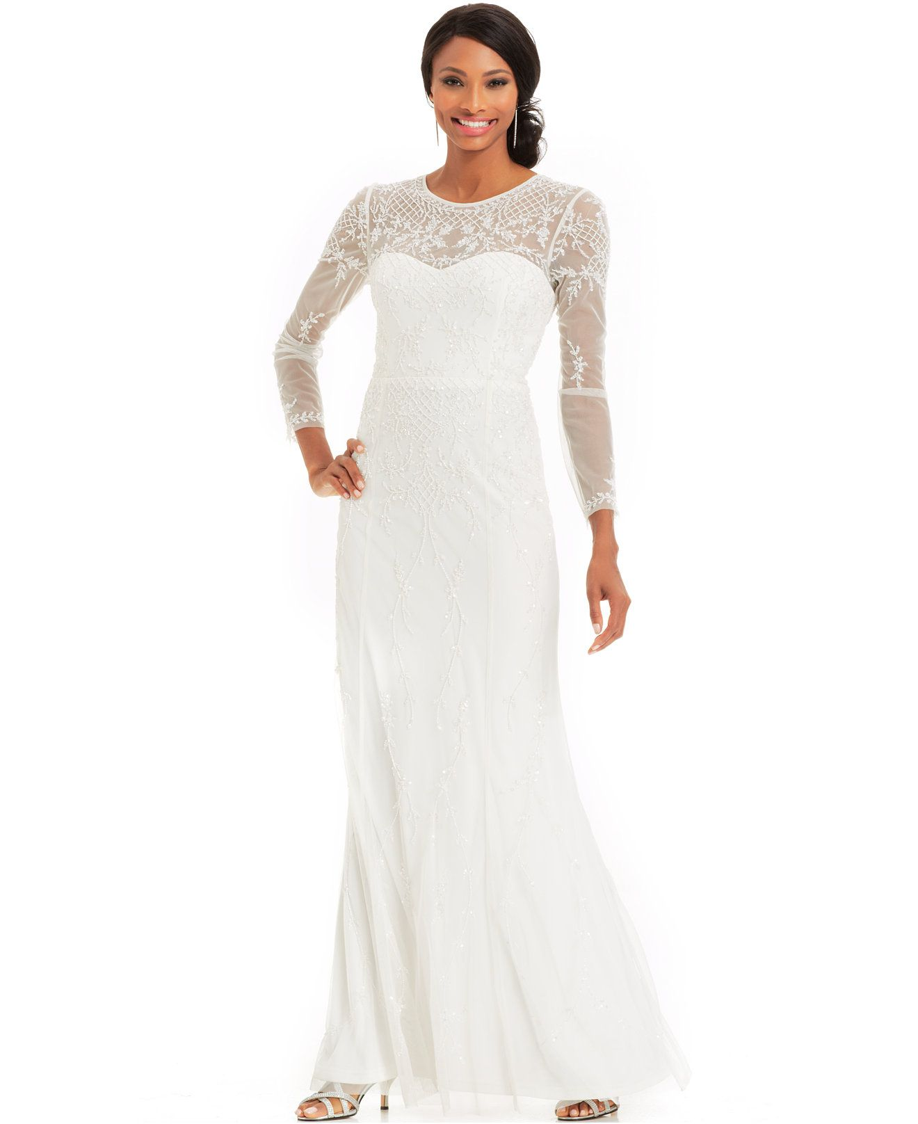 Macy S Wedding Day Dresses: $279 Adrianna Papell Long-Sleeve Beaded Illusion Gown