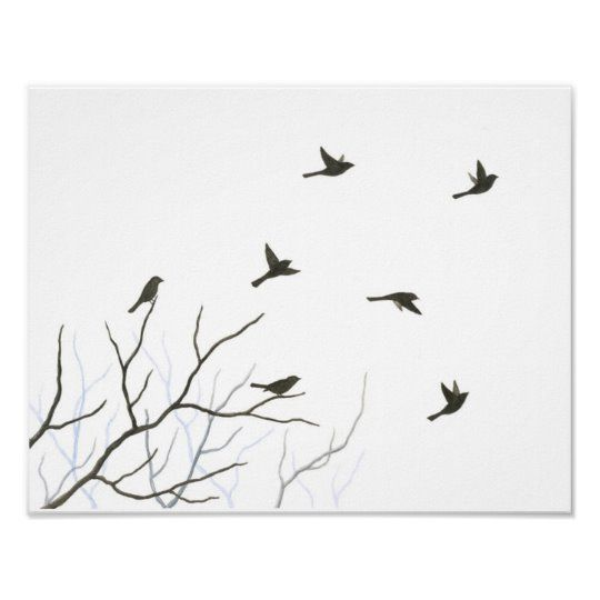 Flying Birds Silhouette Fine Art Print | Zazzle.com