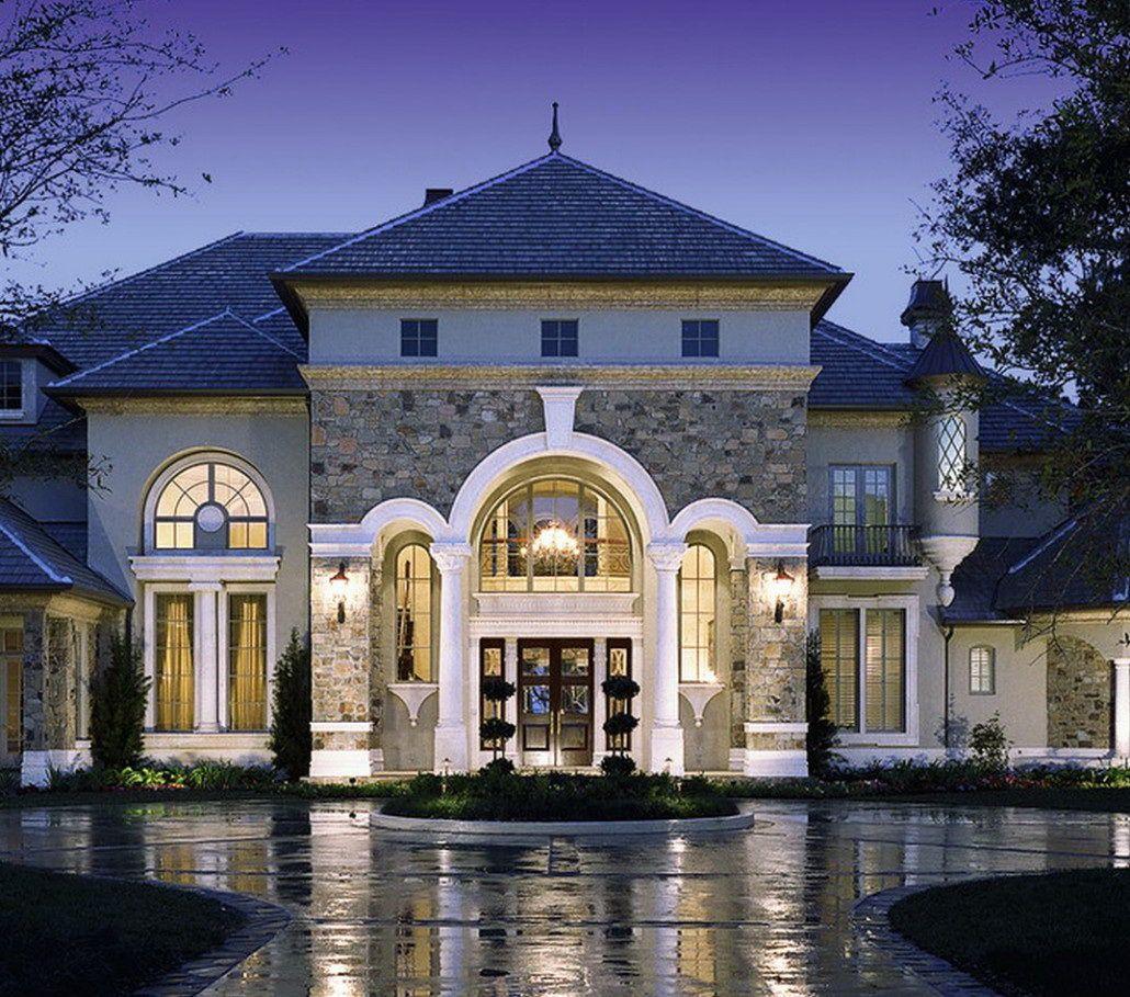a luxurious facade provence house with concrete marble entryway