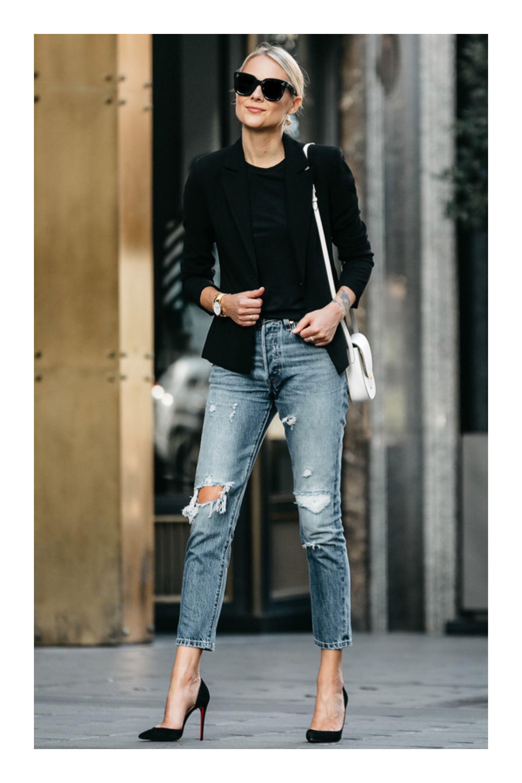 6024cb73c13fa8 Cómo lucir un look relax y al mismo tiempo verte glamurosa #TiZKKAmoda  #tshirt #blazer #negro #jeans #stilettos #lentes #bolsa #casual #fashion